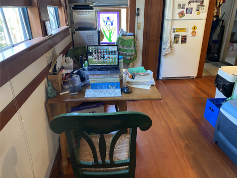 Desk of Professor Kelly Mayhew from San Diego City College during quarantine