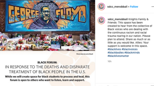 The San Diego City College men's basketball team was among those who shared about the black forum planned for this Friday. Instagram screenshot