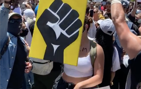 Protest against police brutality in San Diego, CA. Picture shows crowd and a yellow sign with a black fist.