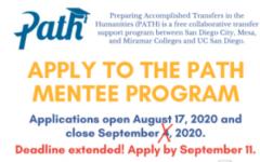 Flyer about PathPeer Mentee Program.//sdccd.edu screenshot