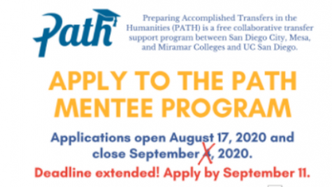 Flyer about PathPeer Mentee Program.//sdccd.edu screenshot