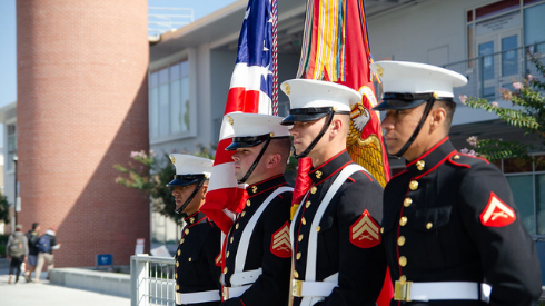 With campus closed, events like last year's veteran's recognition ceremony (pictured) must be moved to a virtual format. San Diego City College image