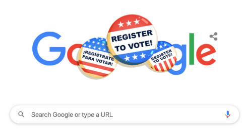 Even Google is in on reminding visitors to its site to register to vote for Nov. 3 election. Google screenshot