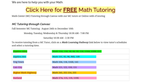 The Math Center's page on the San Diego City College website invites students to visit Algebra Alley or Trig Town. sdcity.edu screenshot