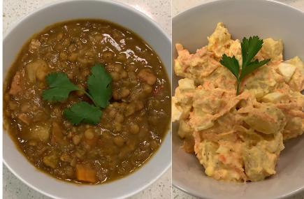 Lentil soup and potato salad