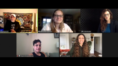 Panel of artists speaking at Social Justice Conference via Zoom