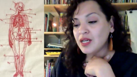 Laurie Ann Guerrero, Texas Poet Laureatte, reads Atlas, a poem from a current project entitled Redwork, in which each poem is also represented as an embroidery piece done in the redwork style. Zoom screenshots