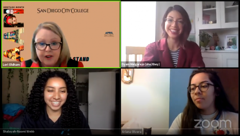 Lori Oldham with SACNAS president and club members during City College club Showcase. Zoom screenshot
