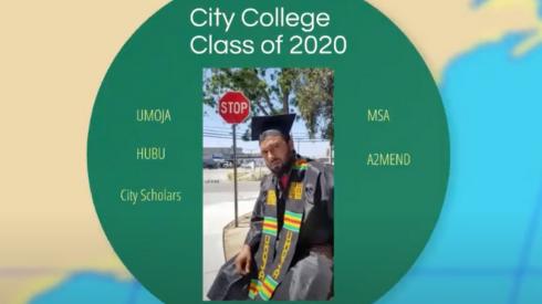 Malcolme Muttaqee in City College graduation robes.