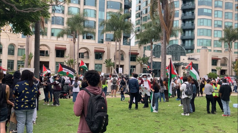 Supporters of Palestinians rally