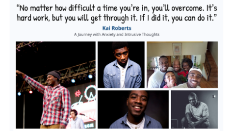 Photographs and quote from mental health advocate Kai Roberts