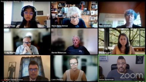 Zoom Screenshot of Board of Trustees Meeting speakers