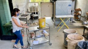 Jen Foxley in the ceramics studio