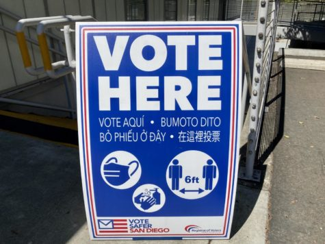 """""""Vote Here"""" signage in front of the gym voting location"""