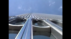 Looking up the streamlined edifice of the South Tower