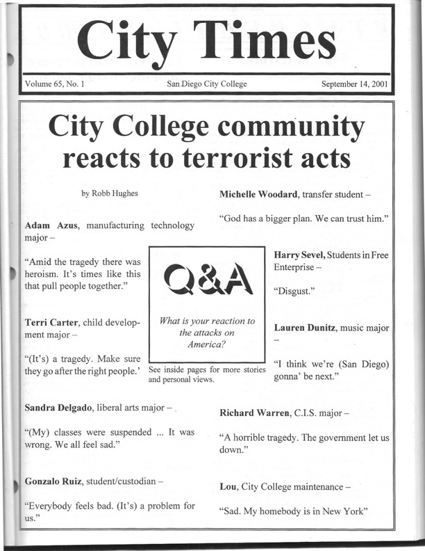 City Times, Sept. 14, 2001 cover