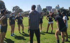 Knights womens soccer team huddles