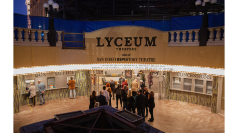 Spectators enter the Lyceum Theatre at Horton Plaza for the debut of Mother Road